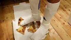 Having Fun With Pizza & Soccer Socks