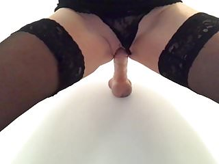 Bent over my juices dripping out of my wet shaved pussy