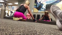 Sexy blonde milf at the gym part 1