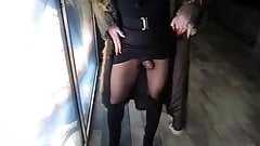 Walking outside shopping centre and showing my clit
