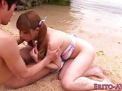Japanese beach babe doggystyled until cum