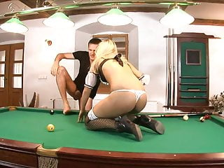 Randy blonde gets doggy style fuck on a pool table