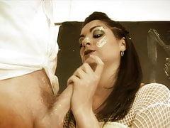 Slutty brunette duo get food fetish threesome bang