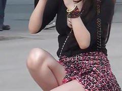 Chinese girl in short skirt