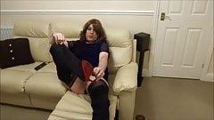 Sexy Crossdresser Alison - Butt plug and cum