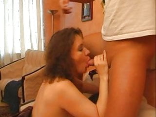 Plump mom loves to fuck at once with two young guys