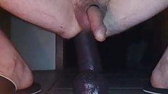 MY HUSSY RIDING A HUGE BLACK DILDO ANALLY