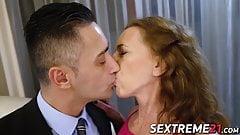 Cum eating granny seduces younger stud into passionate sex