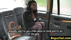 Taxi ebony spunked on face after deepthroat