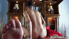 Inked alt stud sucking and riding boyfriends hard cock