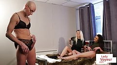 Duo instruct peeping perv to wank in lingerie