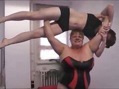 Female Wrestling. Anna Konda beat, dominate and lift a Girl.