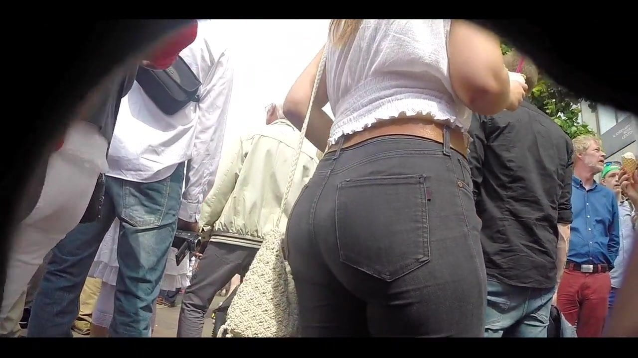 Big ass brunette in tight jeans