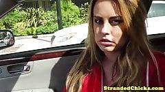 Stranded busty amateur fucks a helpful driver