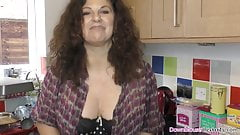 Big boobs mature woman oiling up her goods