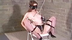 Ball-gagged self bondage with