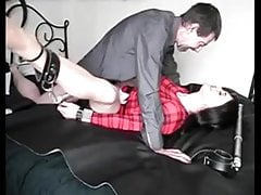 Sissy spread open with bars and fucked by daddy