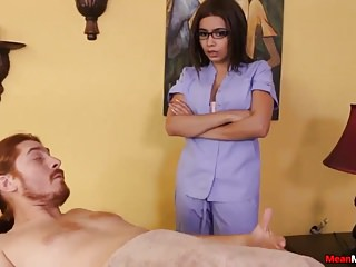 Teen Masseuse Teases Poor Guy Strapped Down