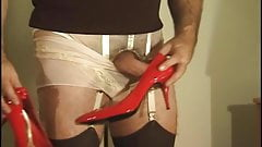 Cum on Hi Heel Shoes Wearing Sheer Panties with Feminine Pad