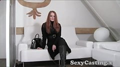 Casting Amazing red head goes all the way