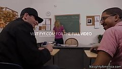 Naughty America Julia Ann fucking in the desk with her tits