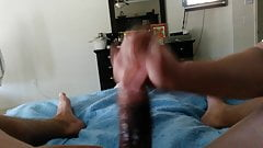 BBC amateur handjob with huge cumshot