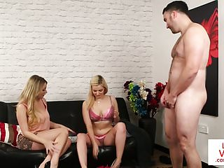 Busty british voyeurs strip for jerking sub