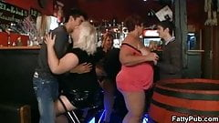 Three fat chicks have fun in the bar