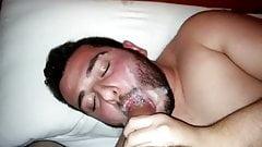Bearded guy sucks big dick and got facial