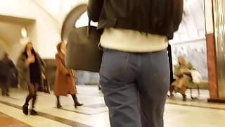 Pretty brunette's ass in mom jeans