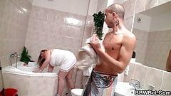 He fucks big booty cleaning girl in the bathroom