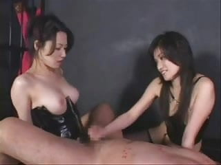 2 Japanese Ladies In Latex Strap on Fuck A Guy