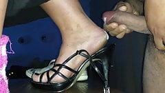 Cum ob my wifes feet and heels