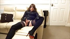 Alison Thighbootboy wanking in her new lycra thigh boots