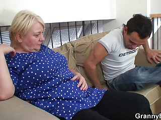 Blonde old granny gives head and rides him