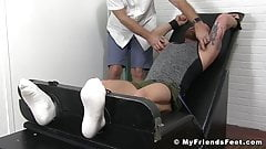 Bearded hunk restrained for merciless tickling action