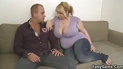He picks up fat blonde woman