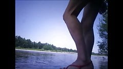 aurelia bathing string swimsuit in river