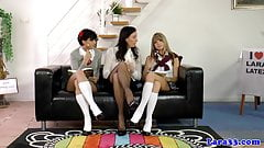 Posh British MILF spanks naughty schoolgirls