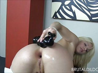 Big dildos ass and pussy fuck