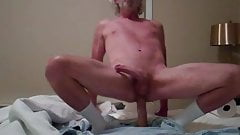 daddy rides his fat dildo and cums