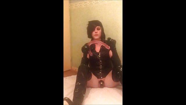 Preview 1 of SeleneTV - Goth sissy in chastity deepthroat 45cm dildo - 2