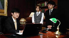 Slutty Japanese secretary enjoys a rough threesome in the of