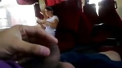 Flashing and jerking in front of a shy girl