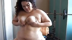 Beautiful big belly BBW brunette plays with her wet pussy