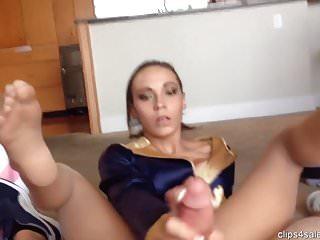 Sasha Foxxx footjob in nude pantyhose