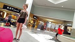 Candid voyeur blonde teen hot shorts at mall shopping