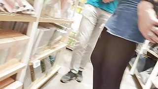 Black Opaque pantyhose in mini jeans skirt