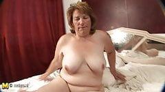 Masturbating grandmother gets warm and horny