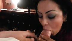Brunette sucking dick